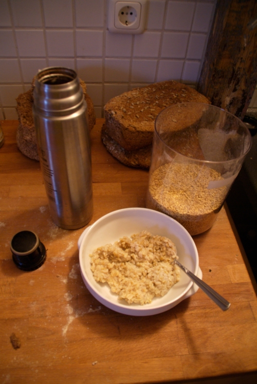 The oatmeal - from grain to mush. In the background our self-baked bread for the next one or two weeks